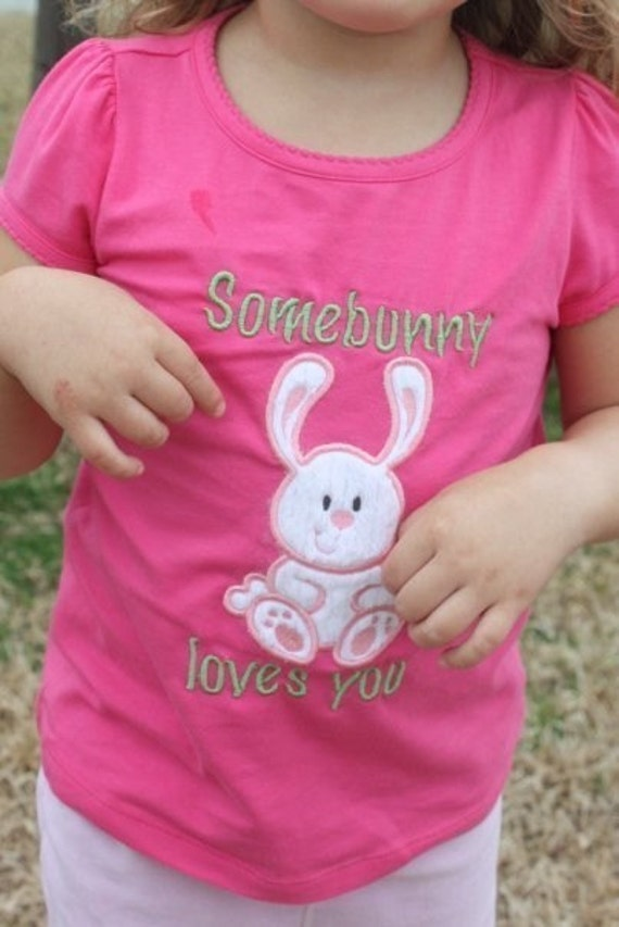 Easter bunny machine embroidery applique design from