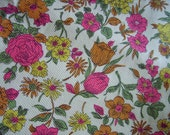 Retro Mod Floral Pique Cotton Fabric - Hot Pink, Yellow, Orange, Olive - 60s 70s - 44x53 inches - Tulips, Daisies, Petunias, Roses & more
