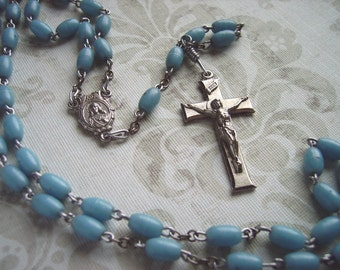 Vintage Rosary with Silver Metal Crucifix and Robins Egg Blue Turquoise Aqua Plastic Oval Beads