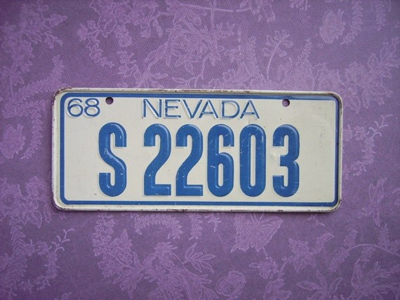 Vintage License Plate 1968 Nevada Bicycle By Yellowbarnfinds