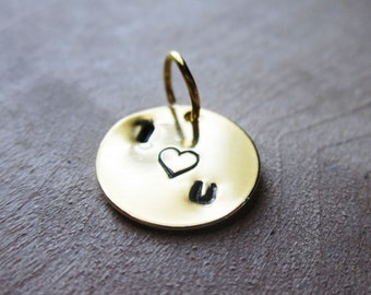 "Stamped ""I love you"" charm, with heart in the center, gold plated disc 12mm"