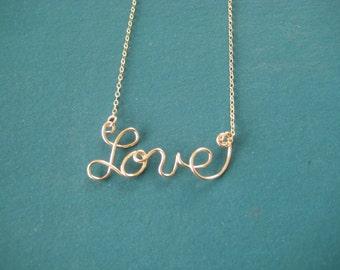 Love script word necklace/jewelry