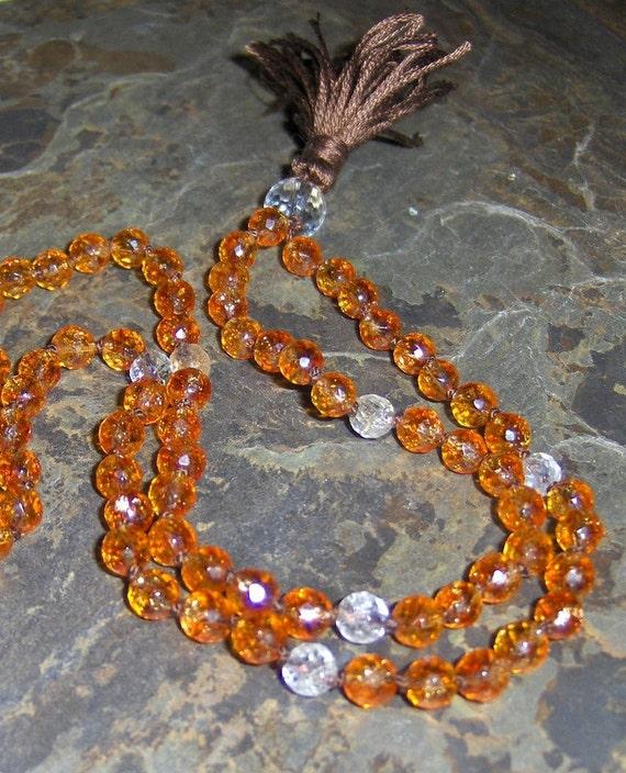 Citrine Mala, Stone Prayer Beads, Rutilated Quartz & Crystal Japa Beads