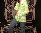 Iconically 1970s  .vintage stoner slash disco shirt .nature print .paper thin .acetate nylon love