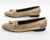 Dear Shoe Fairy .Snakeskin flats do tassel loafers .vintage serpent flesh shoes by Geisha Girl -womens size 7-