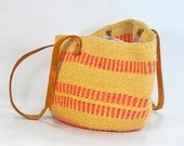 Boho Sisal Purse .1980s vintage African bag .leather straps .Gorgeous earthtones and soft pinks