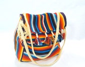 Stunning and Ultra Bright woven cotton purse .vintage ethnic bag .colorful .drawstring closure .braided straps
