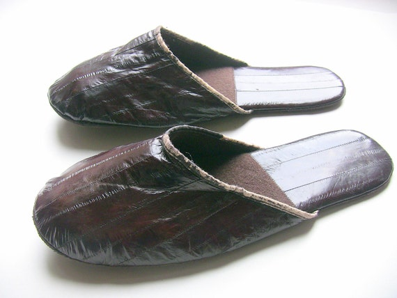 Eel Skin Slippers Mens Over The Top Lounging Shoes Vtg House