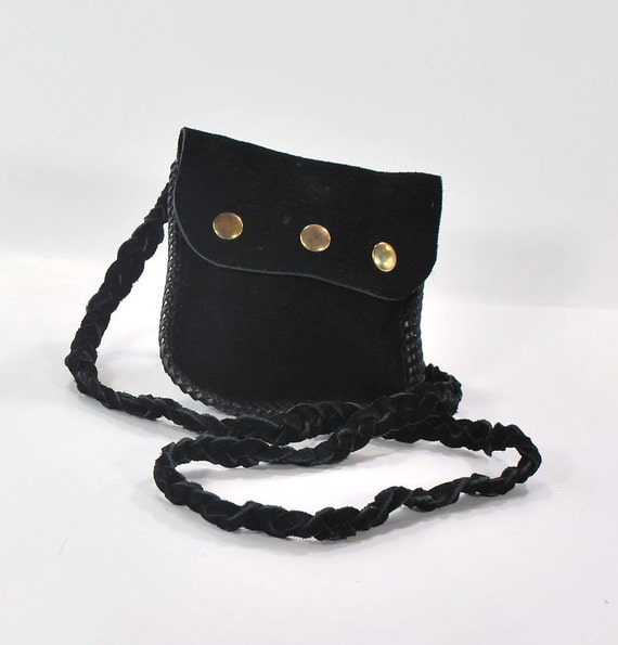 Small but Tough with Brassy Hardware .Timeless Simple and Sweet Black Suede carryall .snap closure vintage 1970s purse
