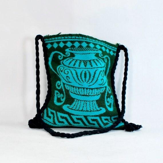 Greek Goddess handwoven handbag .Aqua and Green wool .shoulder bag .summer into fall tote .fringe .cross body purse