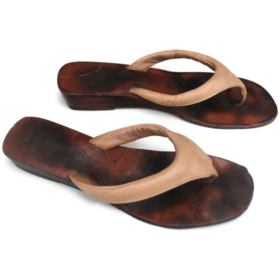 Minimally Detailed and Just Nude .leather flip flops .wood heels .Sweet Briar in 8 or 7.5 womens summer standbys and made in Sexy Brazil
