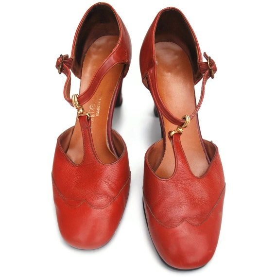 Tea Party T Straps: Cooked Yam wingtip leather heels .fall fashion sunday school pumps -womens size 7-