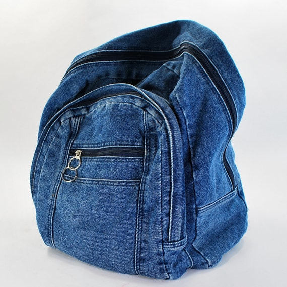 Blue Jean Backpack .Vintage Denim stone washed carryall .jean bag .zippers and compartments .student standby