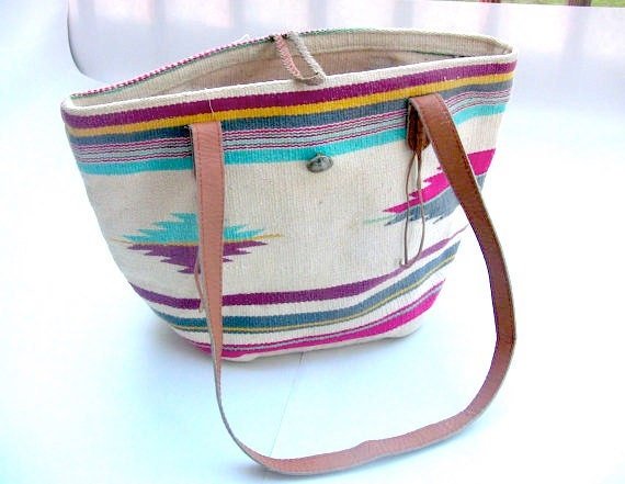 Large Roomy and Ethnic 80s into 90s cotton woven handbag .Pastel meets Aztec .carryall for 2012