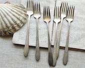 6 vintage Rogers & son silver plate cocktail forks