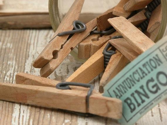 12 vintage wood clothes pins