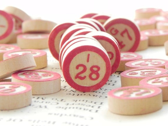 70 vintage wooden Bingo markers with embossed numbers