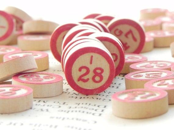 70 vintage wooden Bingo markers with embossed numbers