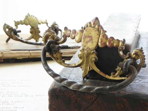2 old brass drawer pulls