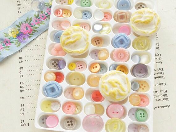 70 vintage buttons spring pastel mix
