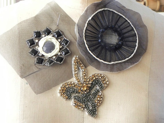 mixed lot of 3 beaded sequence appliques