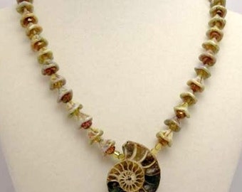 Amonite and Glass Shell Necklace
