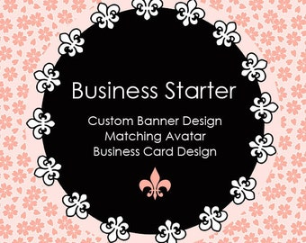 Business Starter Package Custom Banner, Avatar, and Business Card Design