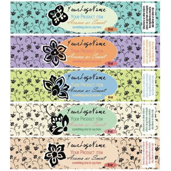 Pre Designed Labels for Beauty Products or Candles....Set of 5..