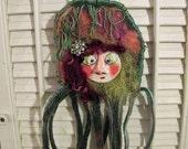 Merriam - an OOAK paper clay original wall hanging art doll
