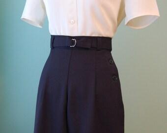1930s 1940s  belted wide leg   dark navy  wool slacks     custom made for your size