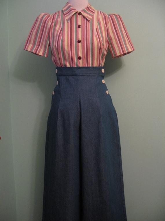 1930's 1940's vintage both side buttoned denim slacks  CUSTOM for your size