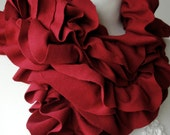 Dark Red PETAL RUFFLE scarf for Autumn 2011
