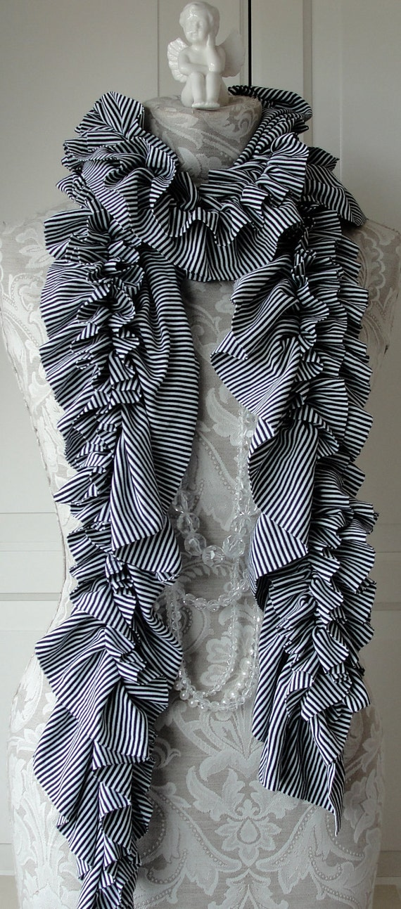 RUFFLE SCARF classic black and White mini stripe fabric