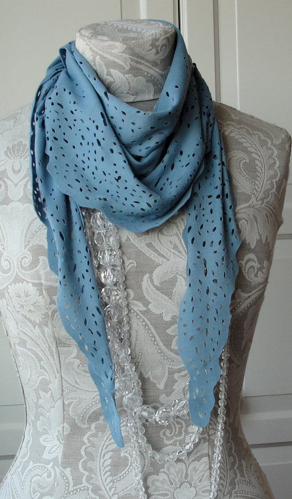 SALE - Hand cut out SCARF in dusky BLUE jersey by Fairytale13