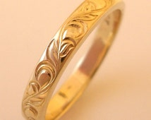 Hand Engraved Vine and Leaf 3mm 14k Yellow Gold Wedding Band and Anniversary Band