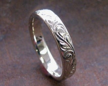 14k White Gold 4mm Hand Engraved Vine and Leaf Wedding/Anniversary Band Made to Order