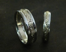 Hand Engraved Vine and Leaf 14k Two Tone Wedding Set Made to Order
