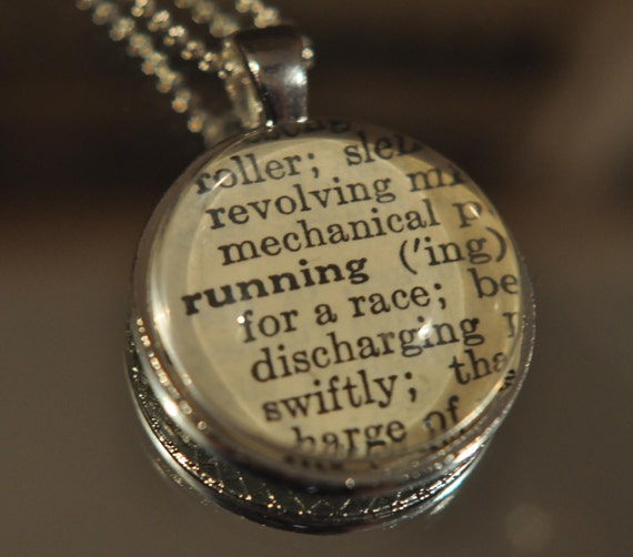 RUNNING Vintage Dictionary Pendant Necklace