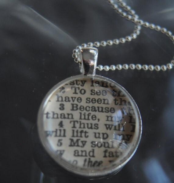 Psalms 63:3-5 Vintage Bible Pendant Necklace