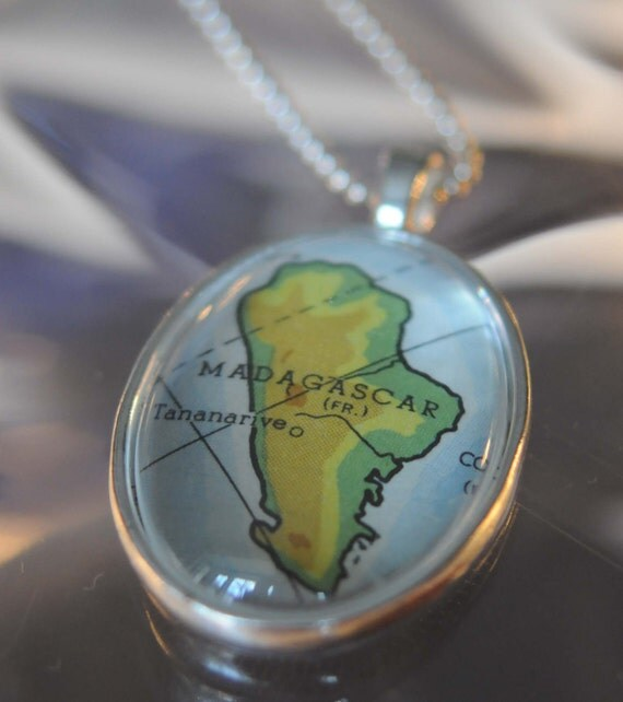 Map Pendant Necklace from Vintage Atlas Madagascar