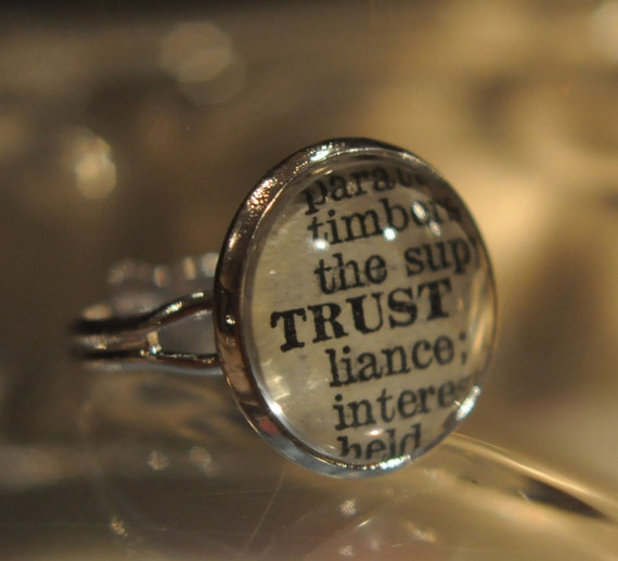 TRUST  Vintage Dictionary Adjustable Ring