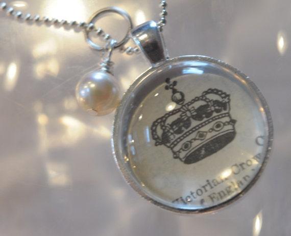PRINCESS Crown Vintage Dictionary Pendant Necklace