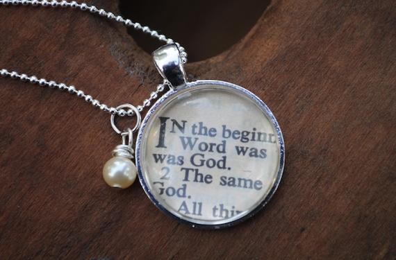 Vintage Bible Verse Pendant Necklace Genesis 1:1
