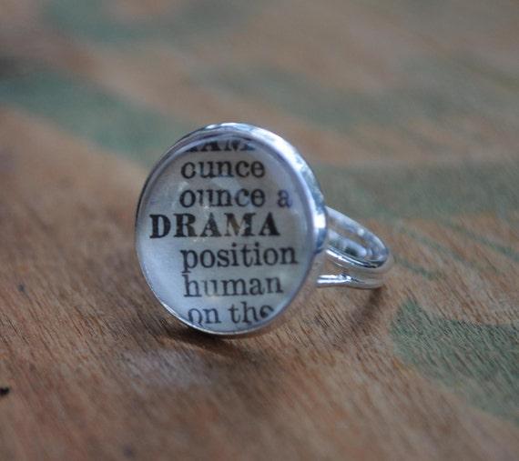 Vintage Dictionary Word  Adjustable Ring DRAMA