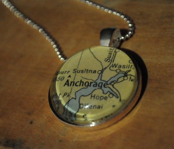 Map Pendant Necklace from Vintage Atlas Anchorage Alaska