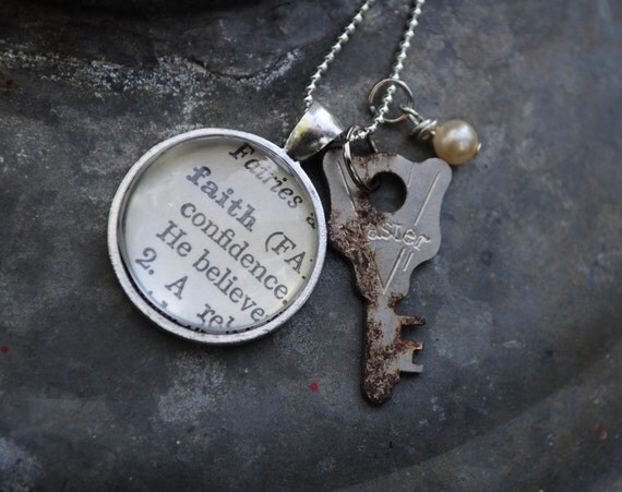 Vintage Dictionary Word Necklace Pendant the letter FAITH