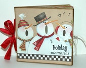 Vintage Inspired Christmas - Snowmen -  Paper Bag Album - Scrapbook - Journal