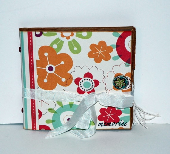"SALE - Flowers  ""memories""-  Paper Bag Album - Scrapbook - Journal"