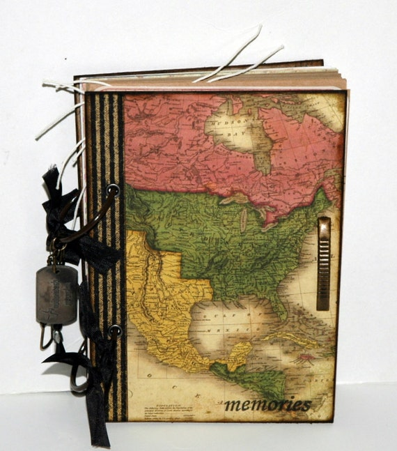 "Special order for Teresa-Vintage Inspired Travel Journal-- ""memories""-68 Pages"