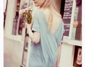Ligh Blue shortsleeved LeMuse V openback cotton dress